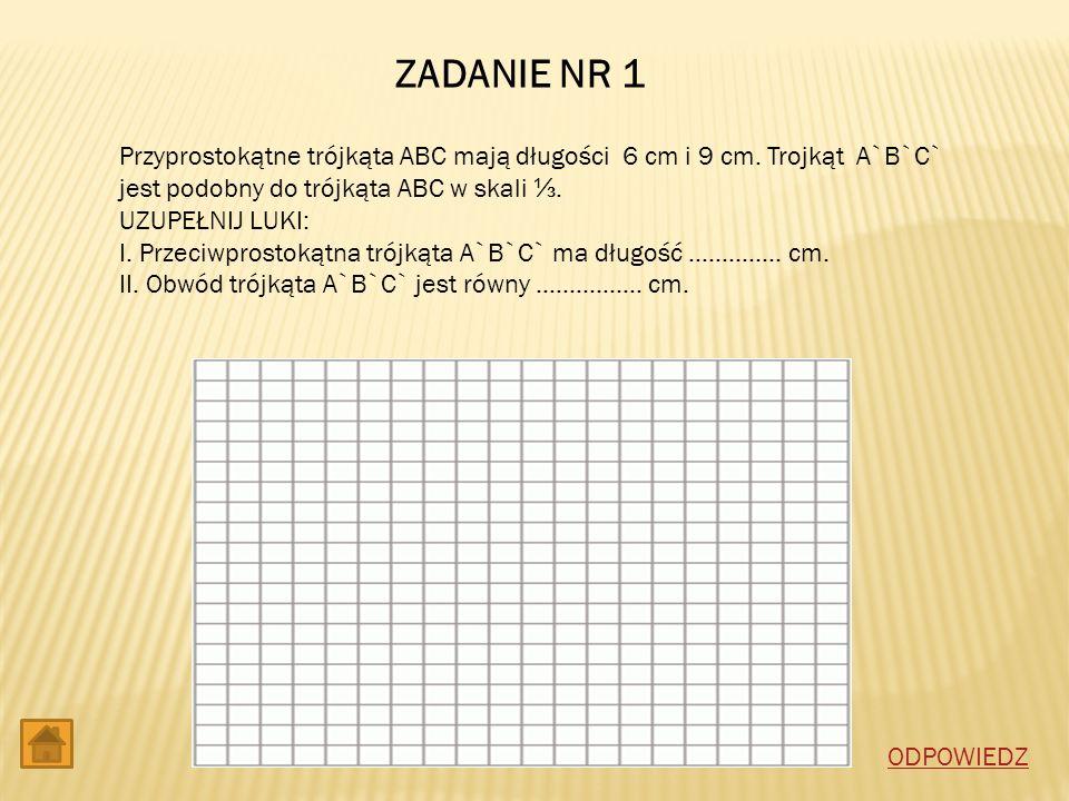 ZADANIE NR 1 Przyprostokątne trójkąta ABC mają długości 6 cm i 9 cm. Trojkąt A`B`C` jest podobny do trójkąta ABC w skali ⅓.