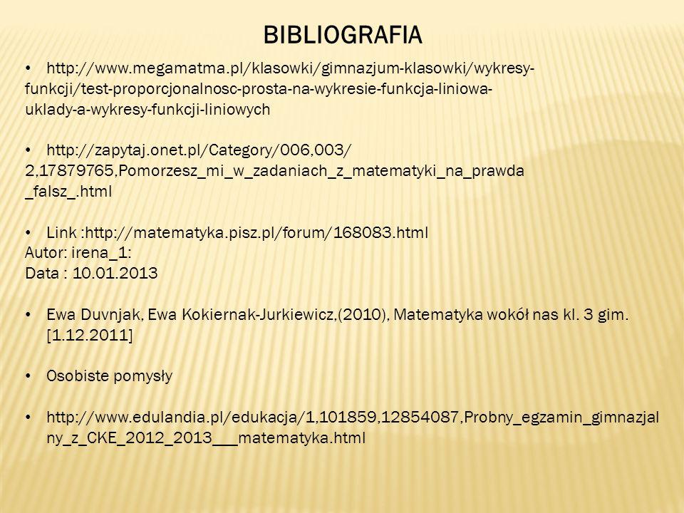 BIBLIOGRAFIA http://www.megamatma.pl/klasowki/gimnazjum-klasowki/wykresy- funkcji/test-proporcjonalnosc-prosta-na-wykresie-funkcja-liniowa-