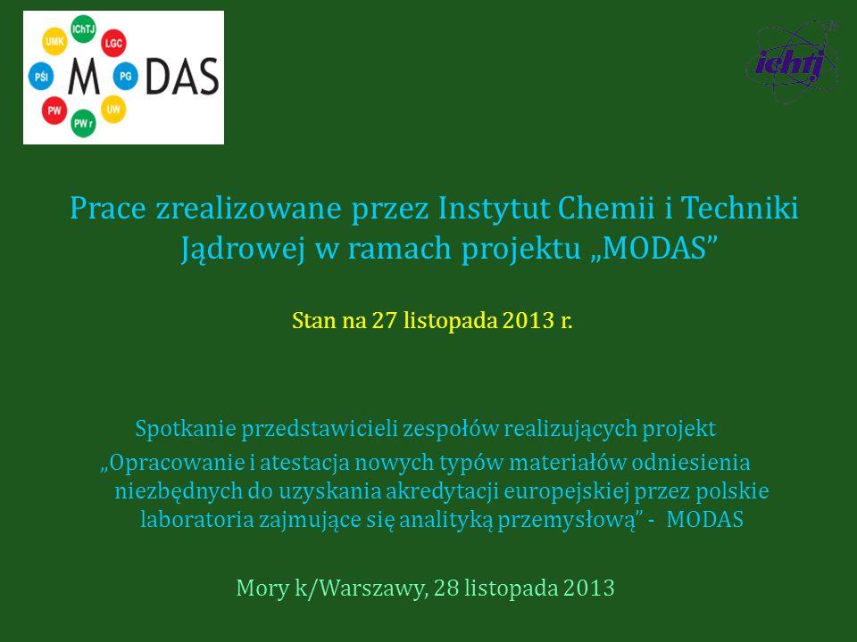 """Prace zrealizowane przez Instytut Chemii i Techniki Jądrowej w ramach projektu """"MODAS"""