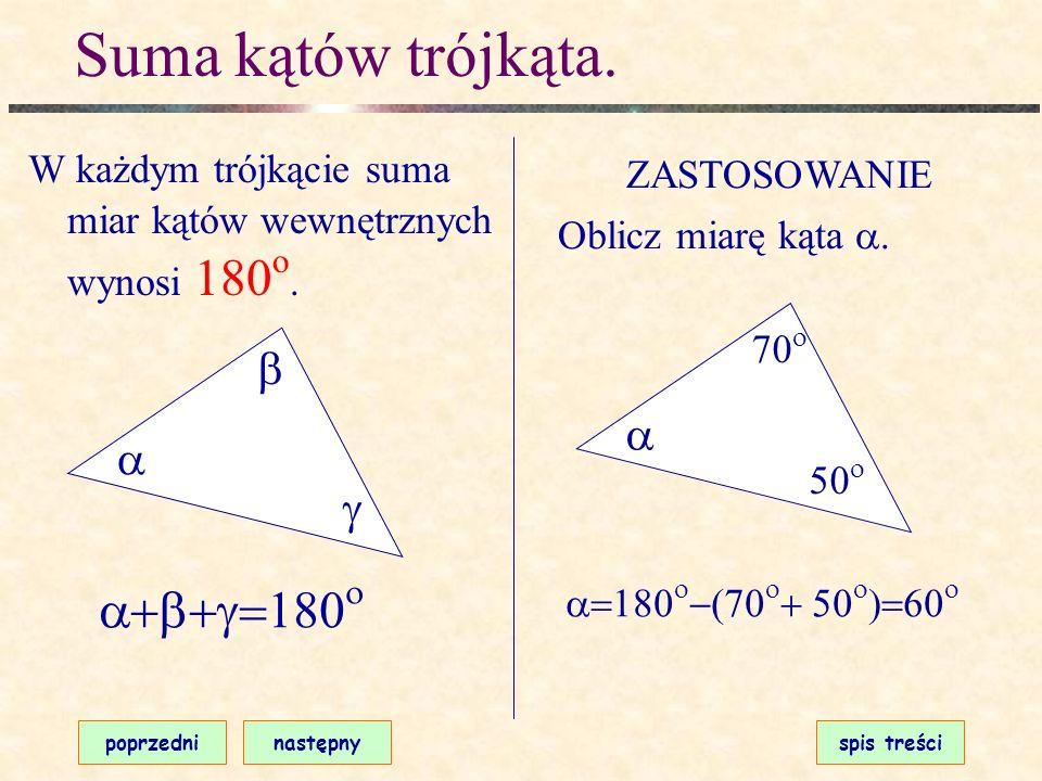 Suma kątów trójkąta. a+b+g=180o b a a g