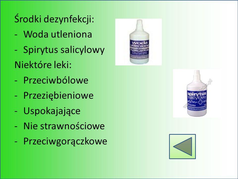 Środki dezynfekcji: Woda utleniona. Spirytus salicylowy. Niektóre leki: Przeciwbólowe. Przeziębieniowe.