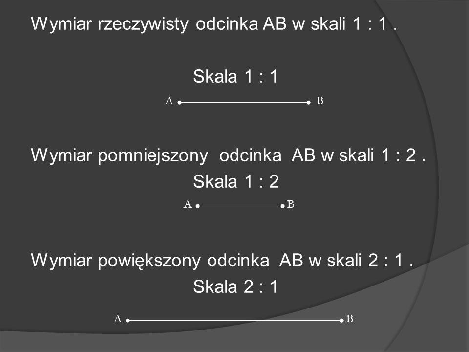 Wymiar rzeczywisty odcinka AB w skali 1 : 1