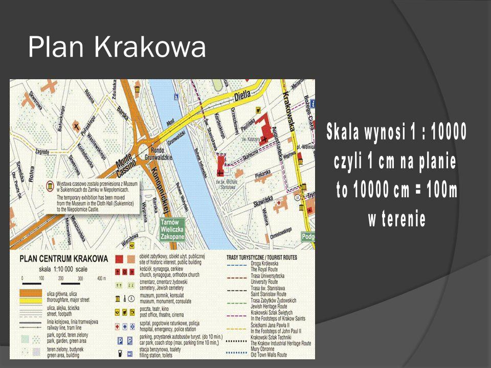 Plan Krakowa Skala wynosi 1 : 10000 czyli 1 cm na planie