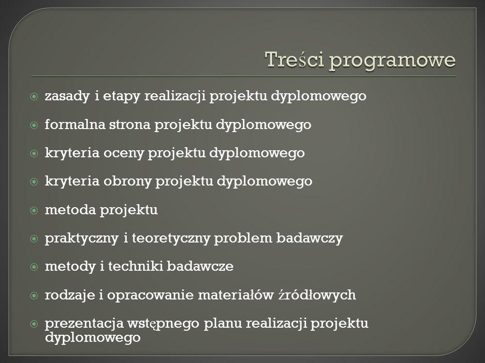 Treści programowe zasady i etapy realizacji projektu dyplomowego