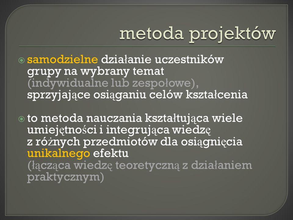 metoda projektów samodzielne działanie uczestników grupy na wybrany temat (indywidualne lub zespołowe), sprzyjające osiąganiu celów kształcenia.