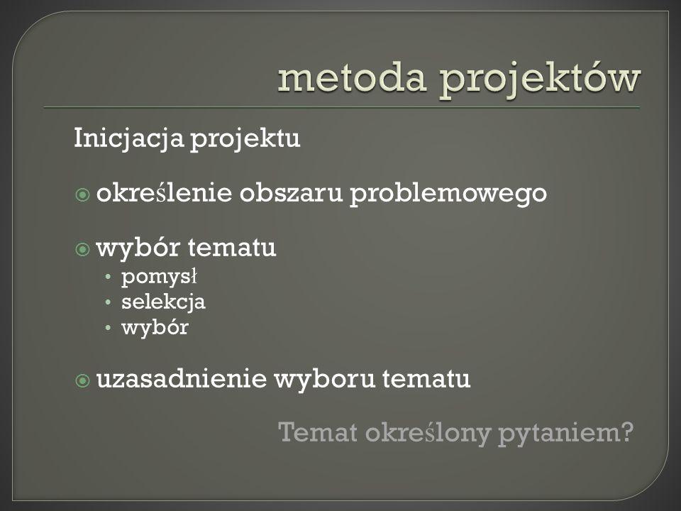 metoda projektów Inicjacja projektu określenie obszaru problemowego