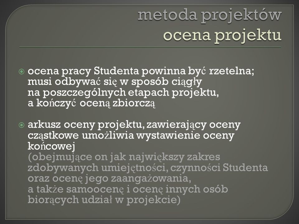 metoda projektów ocena projektu