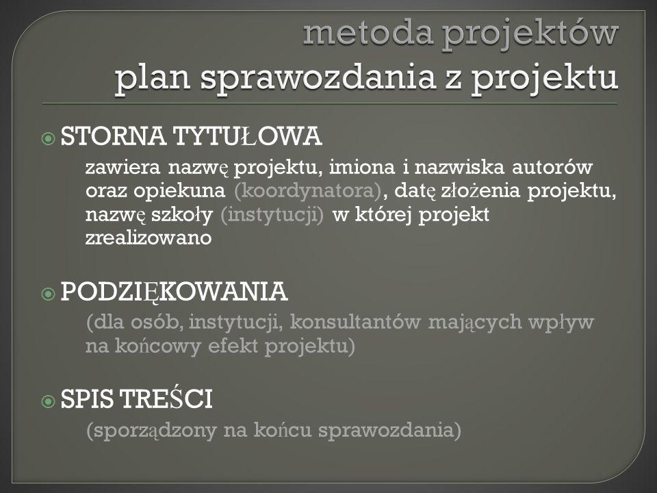 metoda projektów plan sprawozdania z projektu
