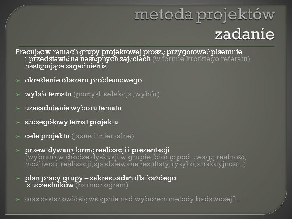 metoda projektów zadanie
