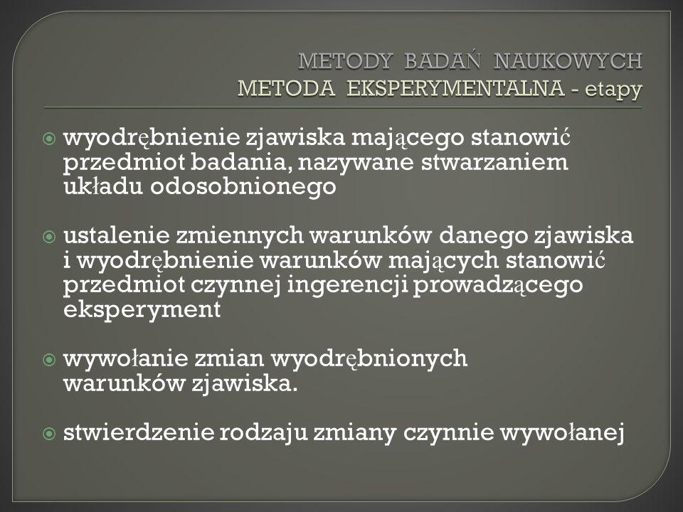 METODY BADAŃ NAUKOWYCH METODA EKSPERYMENTALNA - etapy