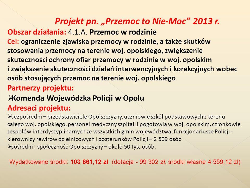 """Projekt pn. """"Przemoc to Nie-Moc 2013 r."""
