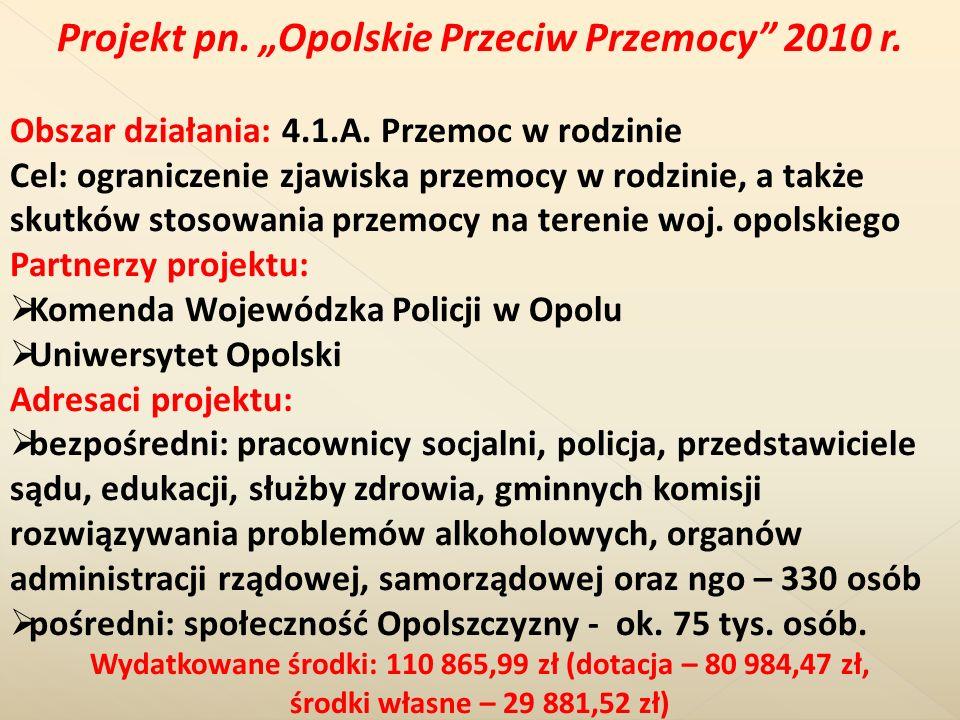 """Projekt pn. """"Opolskie Przeciw Przemocy 2010 r."""