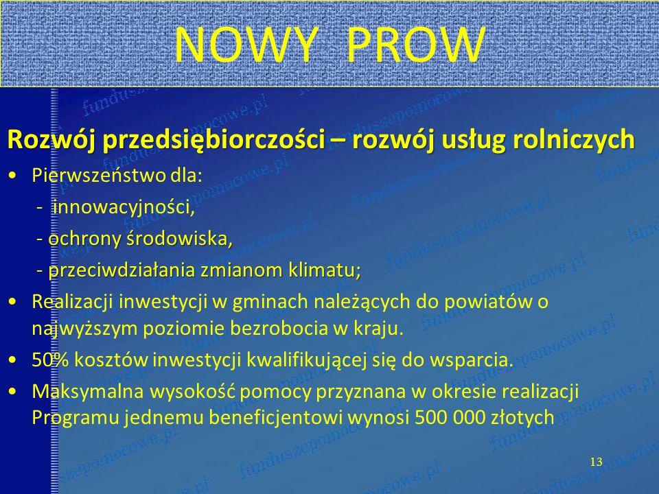 NOWY PROW Rozwój przedsiębiorczości – rozwój usług rolniczych
