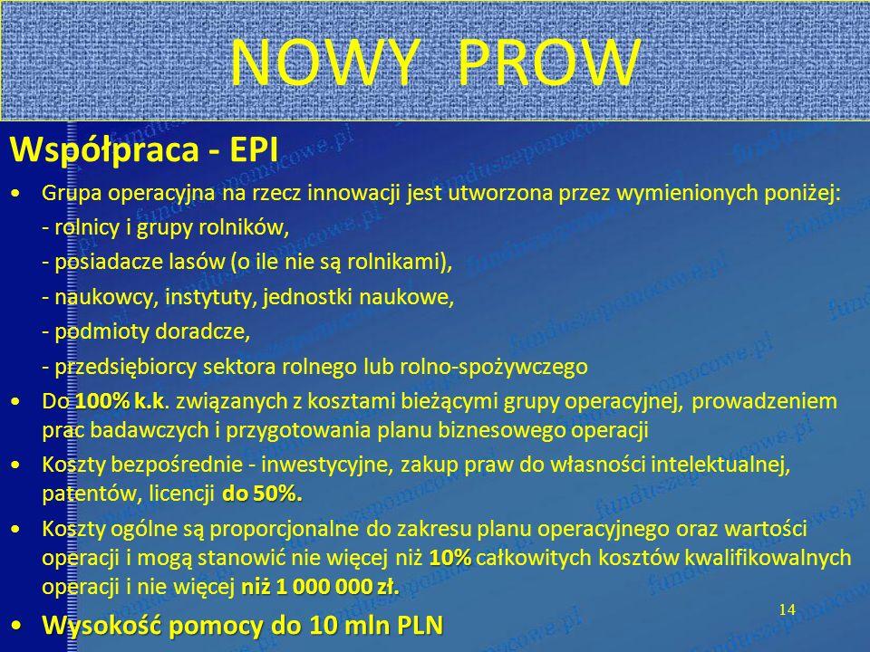 NOWY PROW Współpraca - EPI Wysokość pomocy do 10 mln PLN