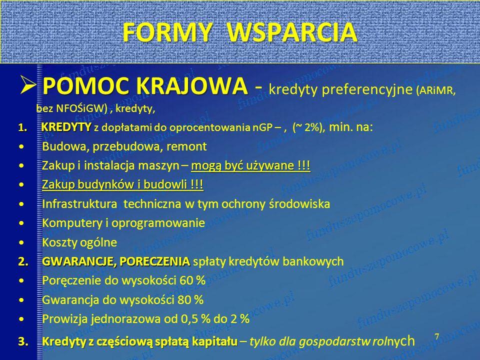 FORMY WSPARCIA POMOC KRAJOWA - kredyty preferencyjne (ARiMR, bez NFOŚiGW) , kredyty,