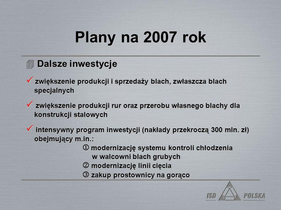 Plany na 2007 rok Dalsze inwestycje