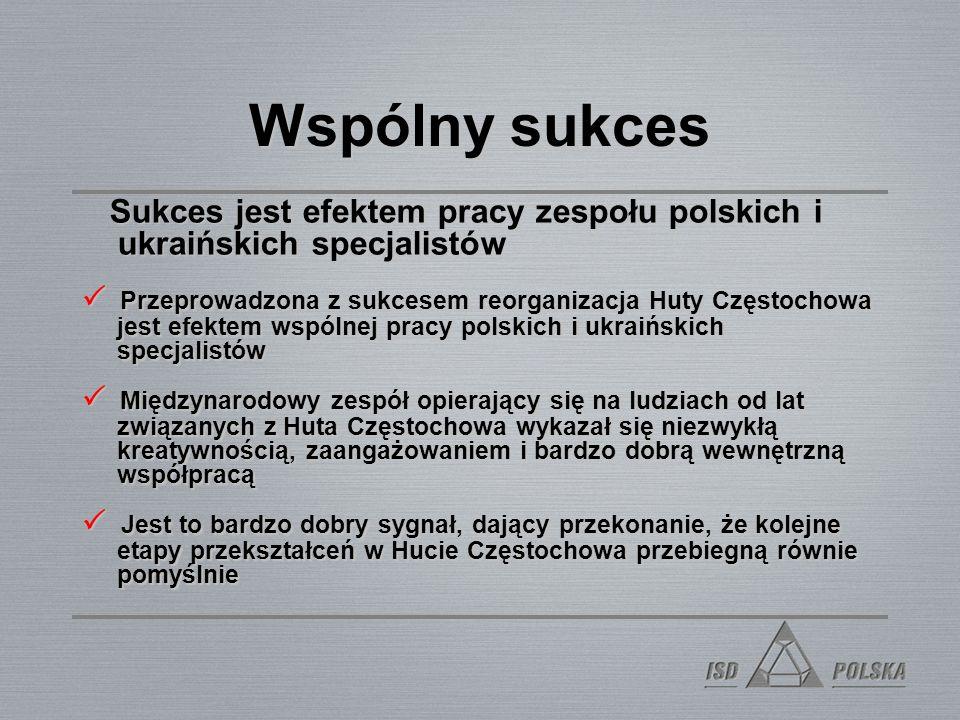 Wspólny sukces Sukces jest efektem pracy zespołu polskich i ukraińskich specjalistów.