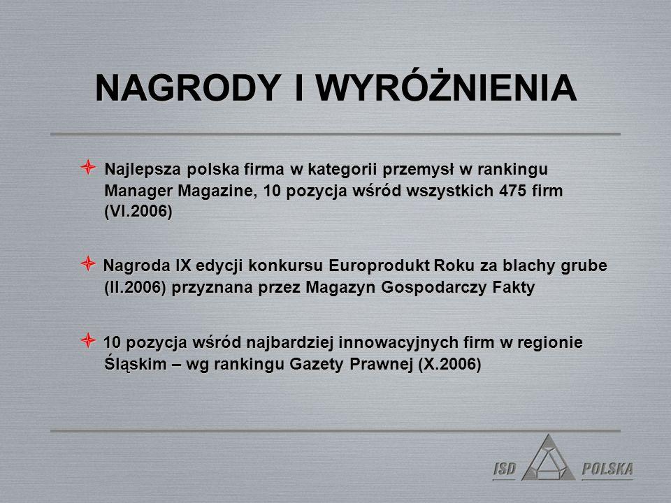 NAGRODY I WYRÓŻNIENIA  Najlepsza polska firma w kategorii przemysł w rankingu Manager Magazine, 10 pozycja wśród wszystkich 475 firm (VI.2006)