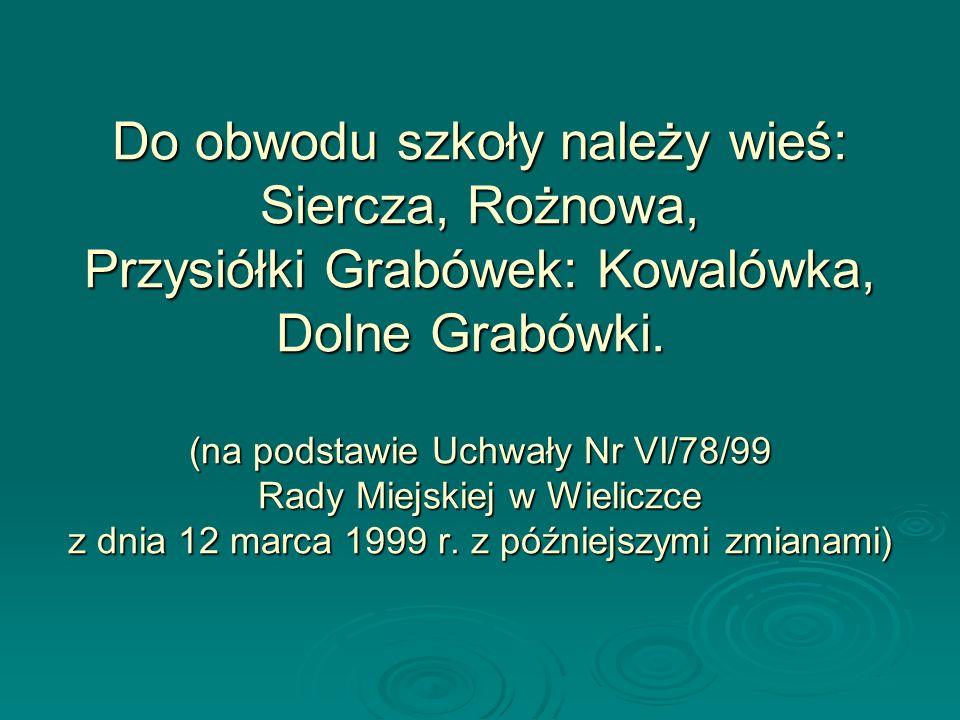 Do obwodu szkoły należy wieś: Siercza, Rożnowa, Przysiółki Grabówek: Kowalówka, Dolne Grabówki. (na podstawie Uchwały Nr VI/78/99 Rady Miejskiej w Wieliczce z dnia 12 marca 1999 r.