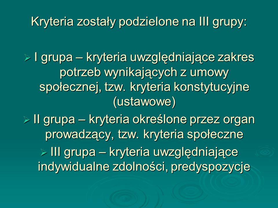 Kryteria zostały podzielone na III grupy:
