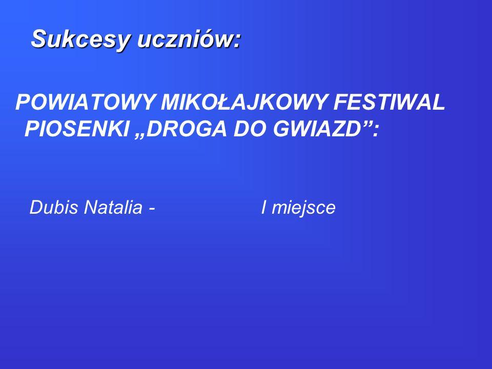 """Sukcesy uczniów: POWIATOWY MIKOŁAJKOWY FESTIWAL PIOSENKI """"DROGA DO GWIAZD : Dubis Natalia - I miejsce."""