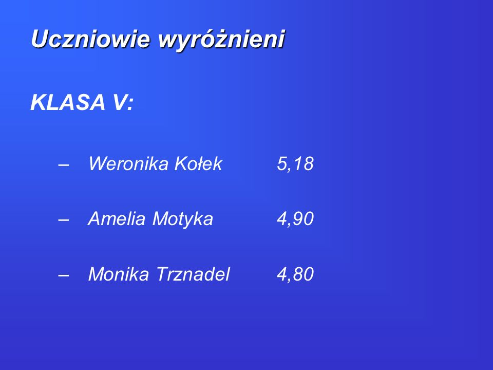 Uczniowie wyróżnieni KLASA V: Weronika Kołek 5,18 Amelia Motyka 4,90