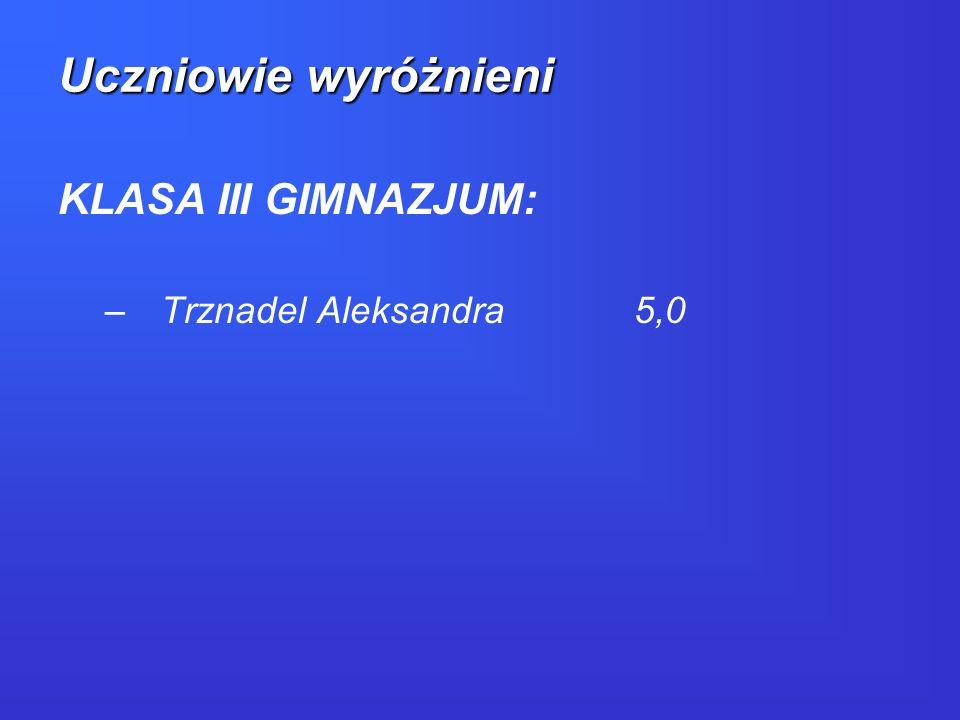 Uczniowie wyróżnieni KLASA III GIMNAZJUM: Trznadel Aleksandra 5,0