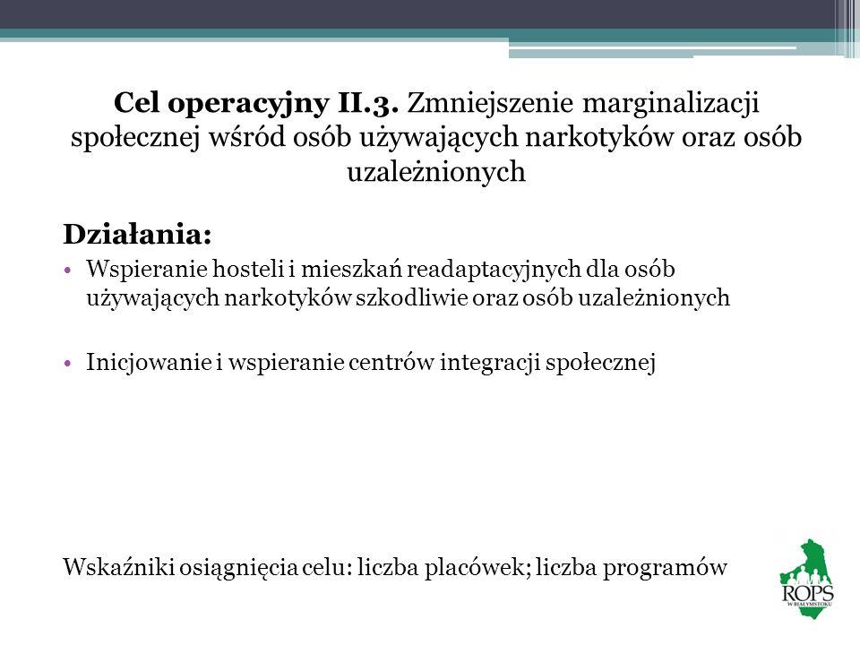 Cel operacyjny II.3. Zmniejszenie marginalizacji społecznej wśród osób używających narkotyków oraz osób uzależnionych