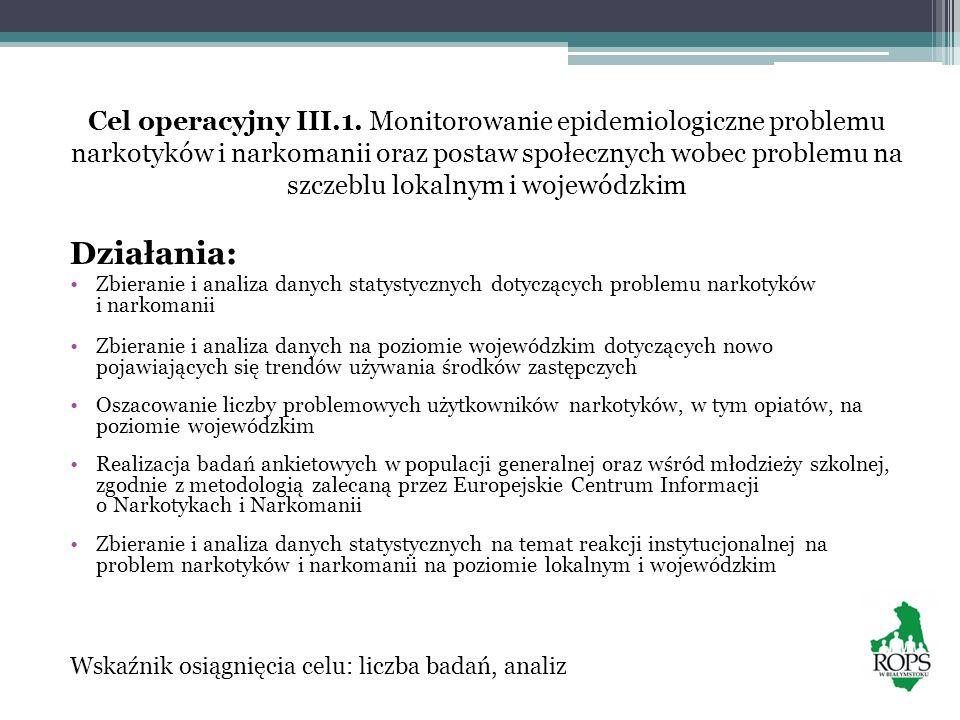 Cel operacyjny III.1. Monitorowanie epidemiologiczne problemu narkotyków i narkomanii oraz postaw społecznych wobec problemu na szczeblu lokalnym i wojewódzkim
