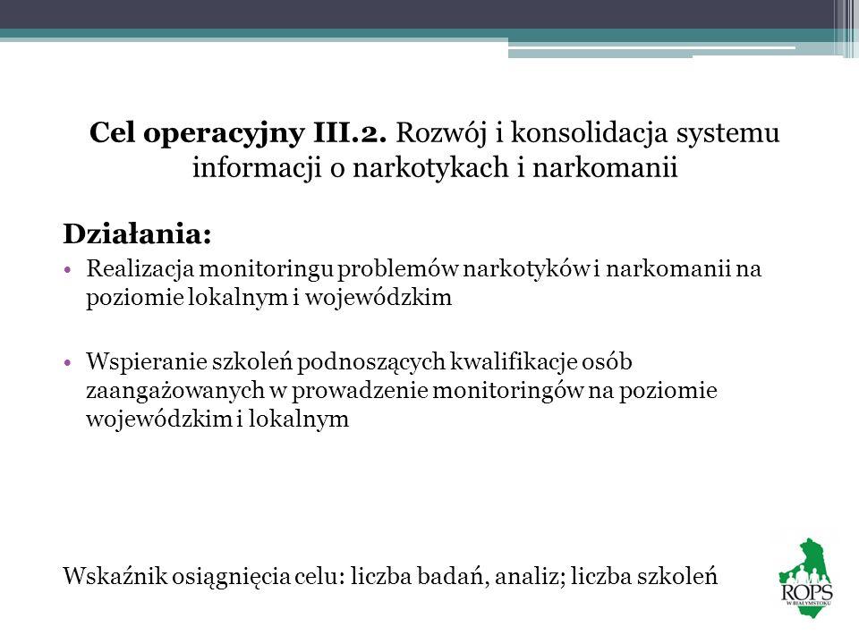 Cel operacyjny III.2. Rozwój i konsolidacja systemu informacji o narkotykach i narkomanii