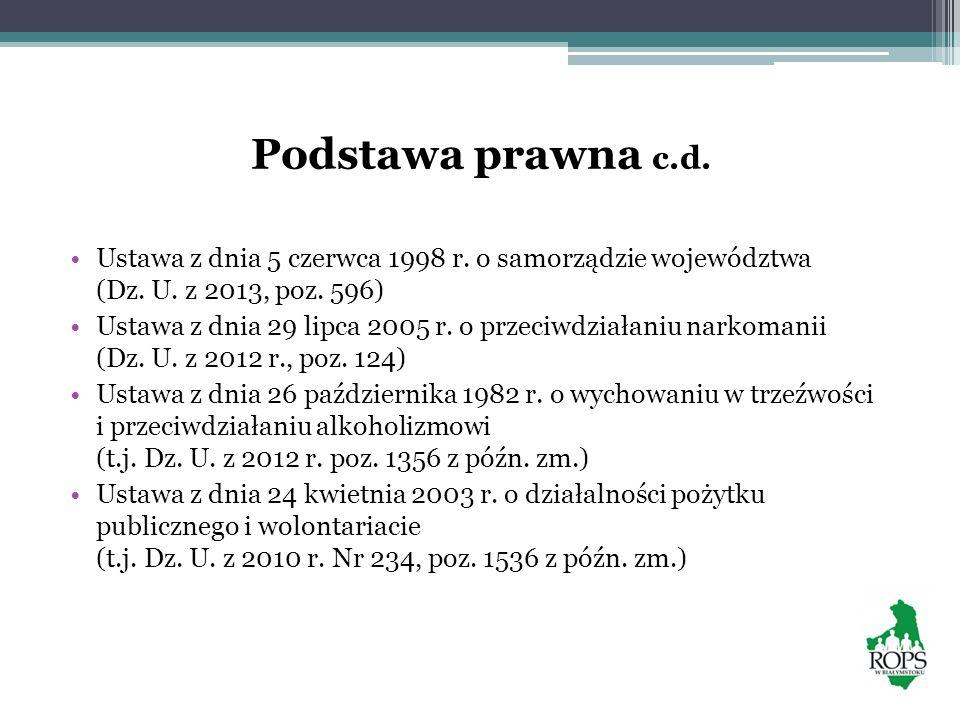 Podstawa prawna c.d. Ustawa z dnia 5 czerwca 1998 r. o samorządzie województwa (Dz. U. z 2013, poz. 596)