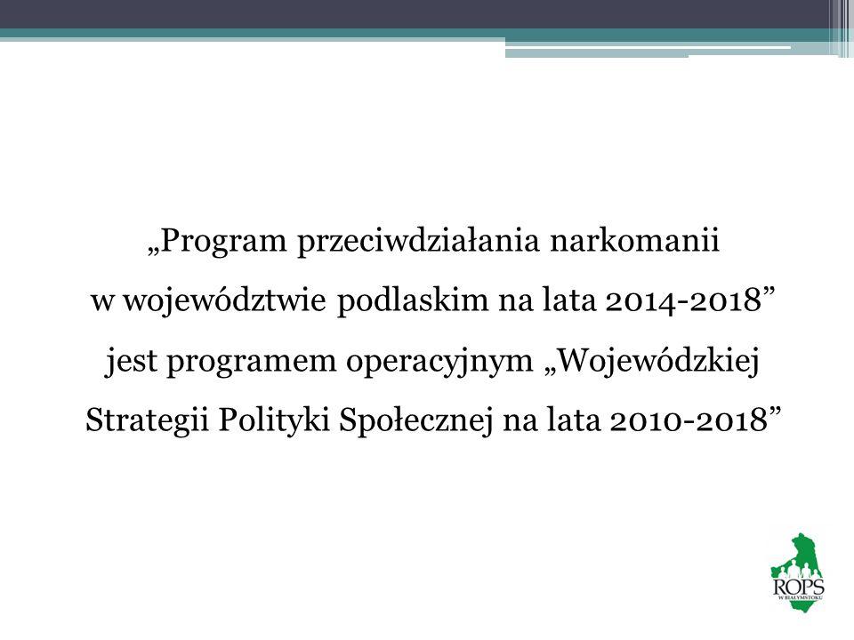 """""""Program przeciwdziałania narkomanii w województwie podlaskim na lata 2014-2018 jest programem operacyjnym """"Wojewódzkiej Strategii Polityki Społecznej na lata 2010-2018"""