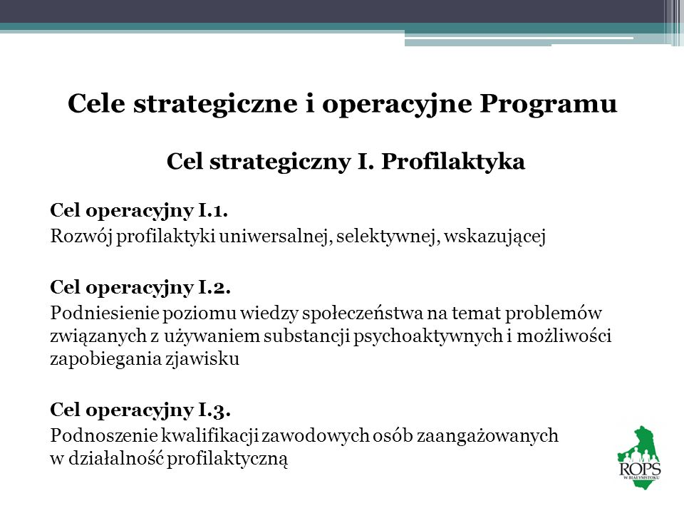 Cele strategiczne i operacyjne Programu