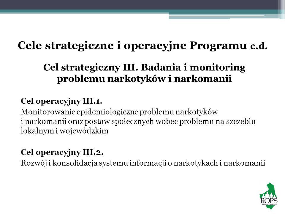 Cele strategiczne i operacyjne Programu c.d.