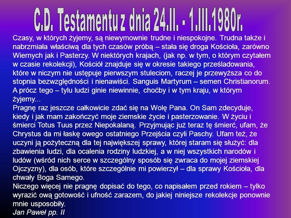 C.D. Testamentu z dnia 24.II. - 1.III.1980r.