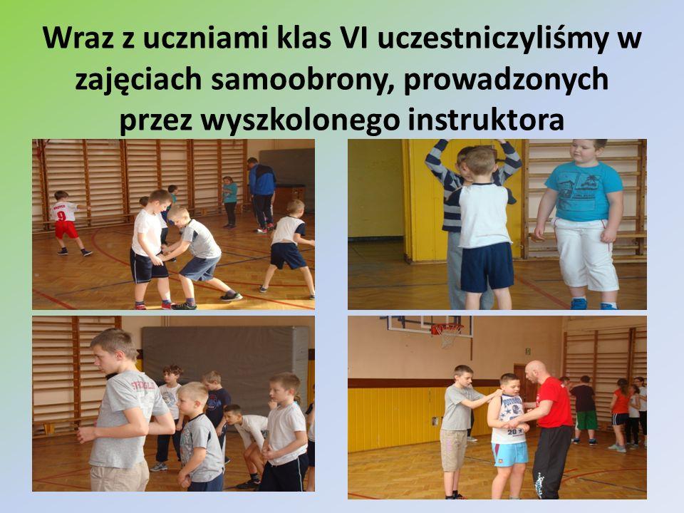 Wraz z uczniami klas VI uczestniczyliśmy w zajęciach samoobrony, prowadzonych przez wyszkolonego instruktora