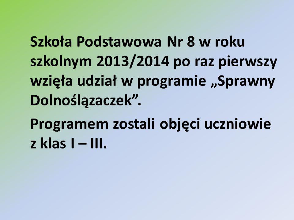 """Szkoła Podstawowa Nr 8 w roku szkolnym 2013/2014 po raz pierwszy wzięła udział w programie """"Sprawny Dolnoślązaczek ."""