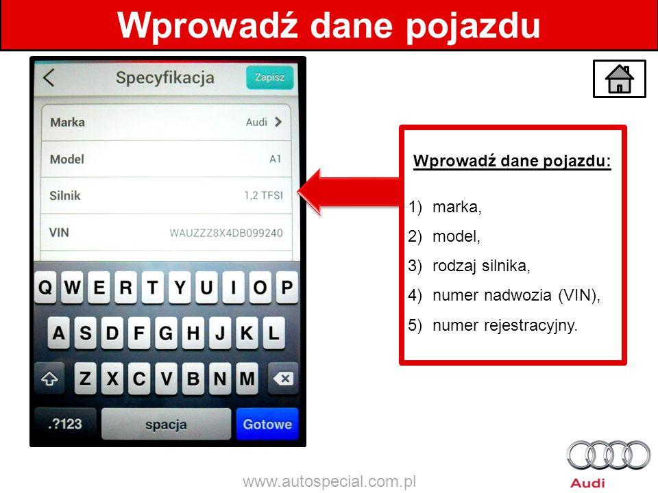 Wprowadź dane pojazdu: