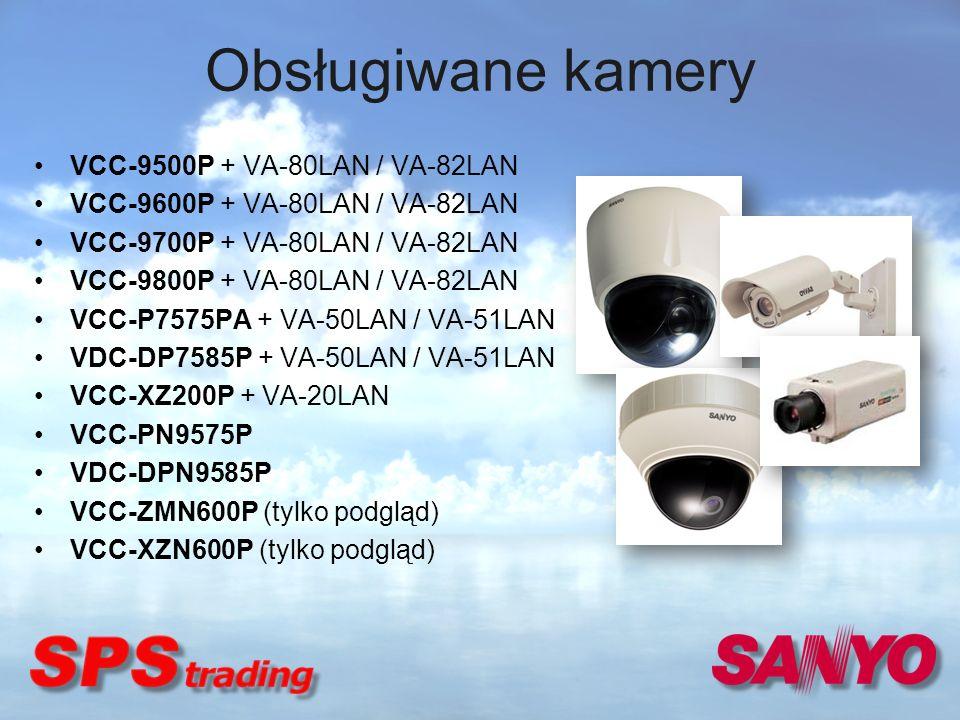 Obsługiwane kamery VCC-9500P + VA-80LAN / VA-82LAN