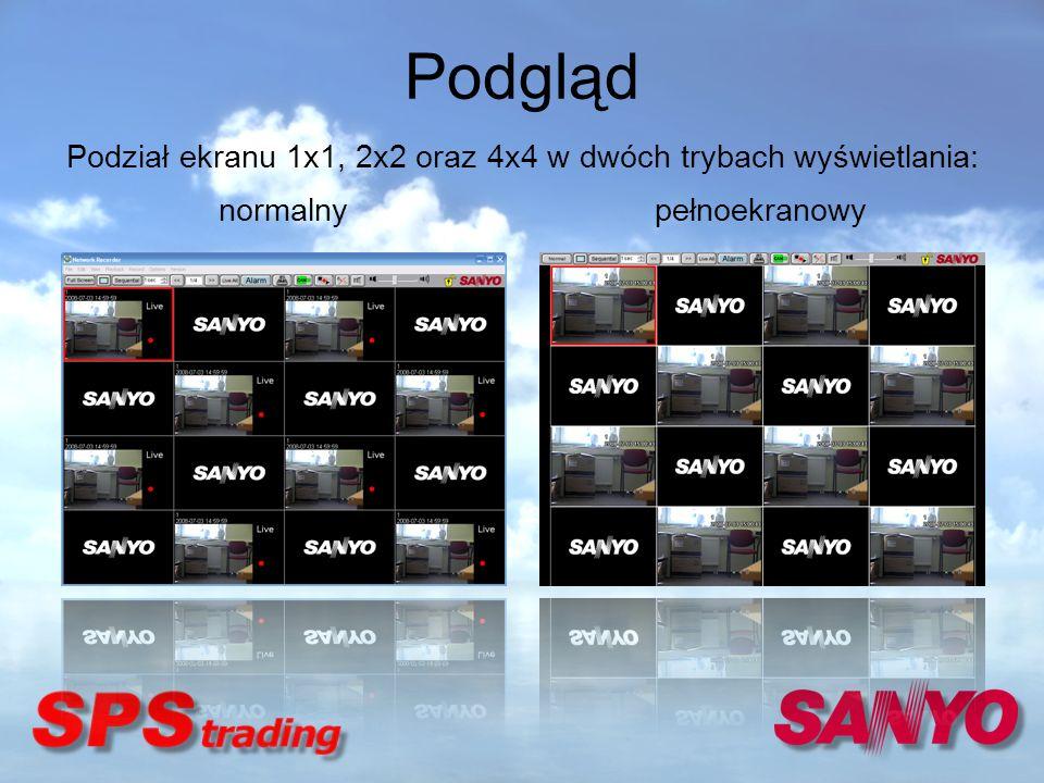 Podział ekranu 1x1, 2x2 oraz 4x4 w dwóch trybach wyświetlania: