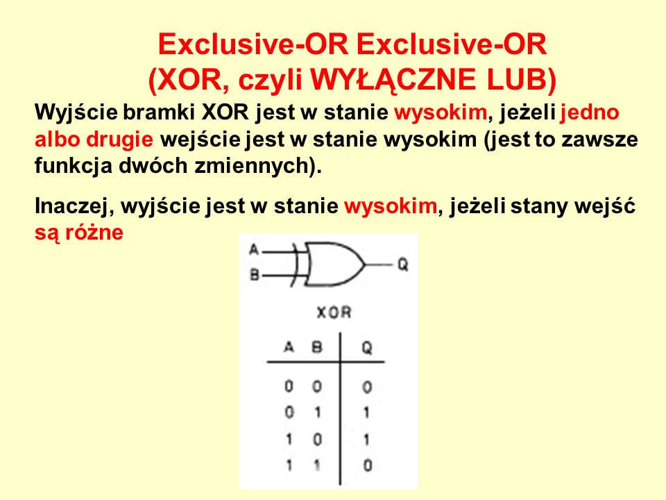 Exclusive-OR Exclusive-OR (XOR, czyli WYŁĄCZNE LUB)