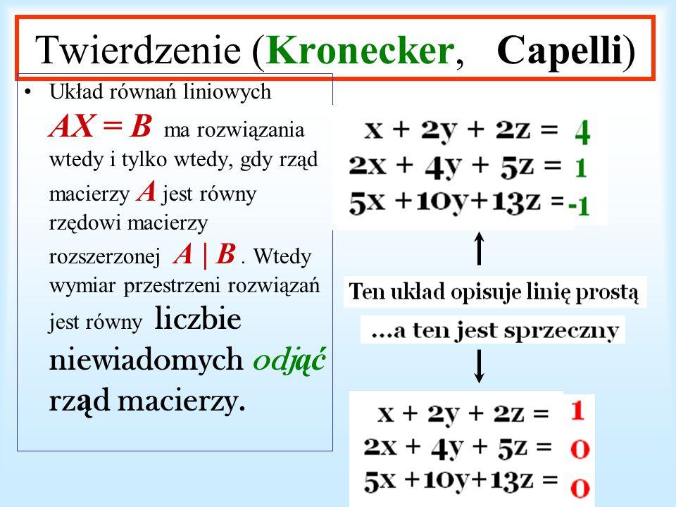 Twierdzenie (Kronecker, Capelli)