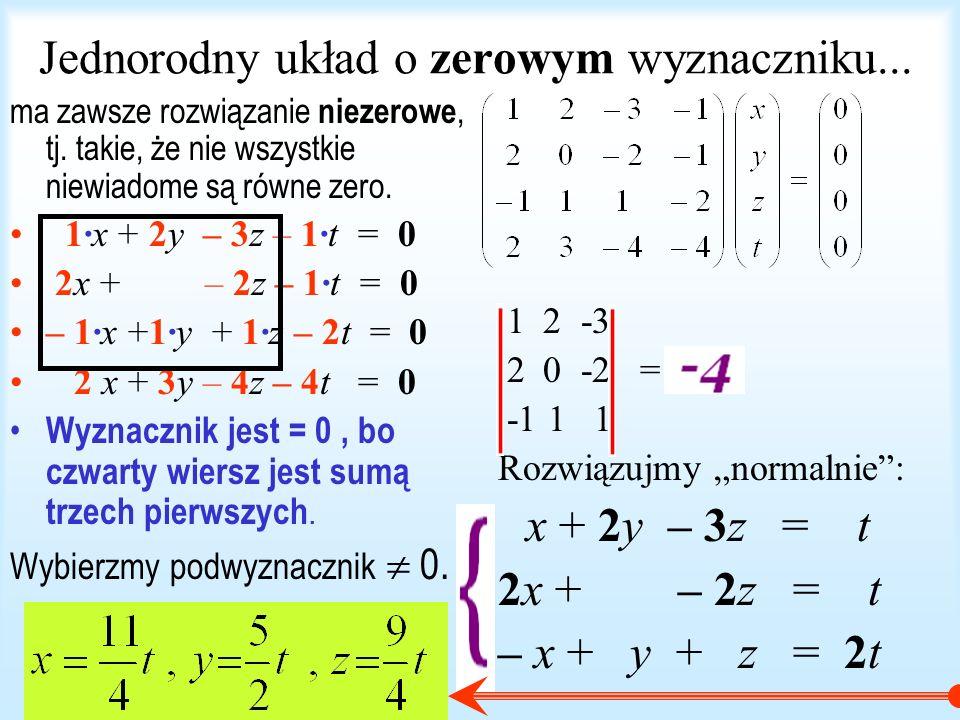 Jednorodny układ o zerowym wyznaczniku...
