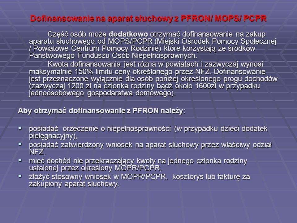 Dofinansowanie na aparat słuchowy z PFRON/ MOPS/ PCPR