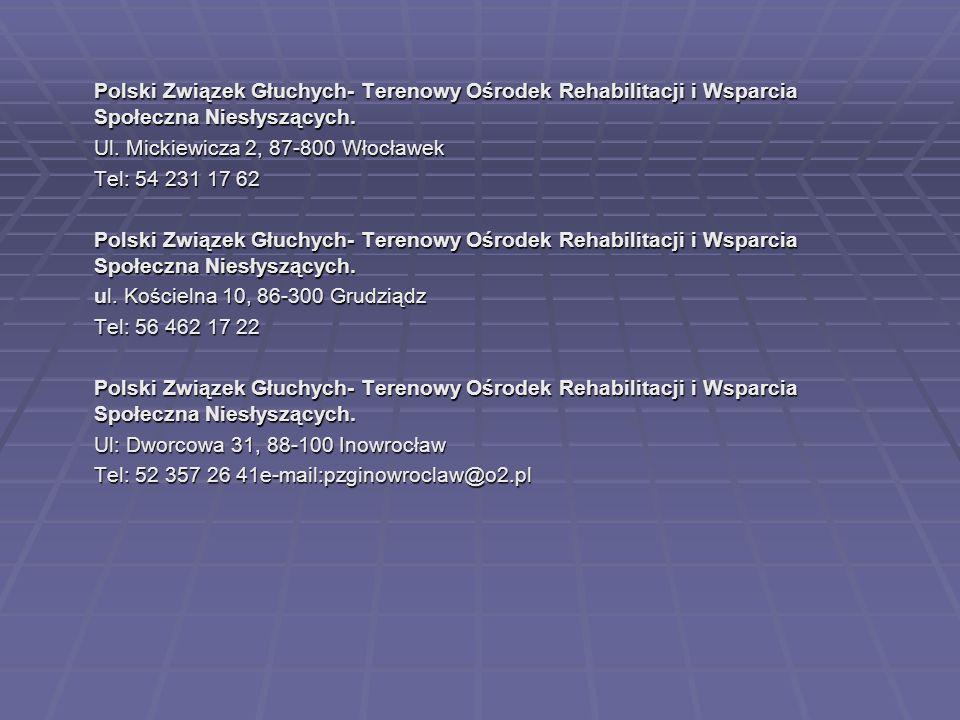 Polski Związek Głuchych- Terenowy Ośrodek Rehabilitacji i Wsparcia Społeczna Niesłyszących.