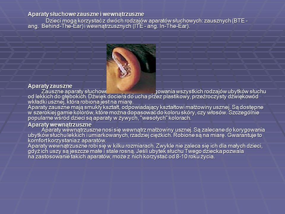 Aparaty słuchowe zauszne i wewnątrzuszne