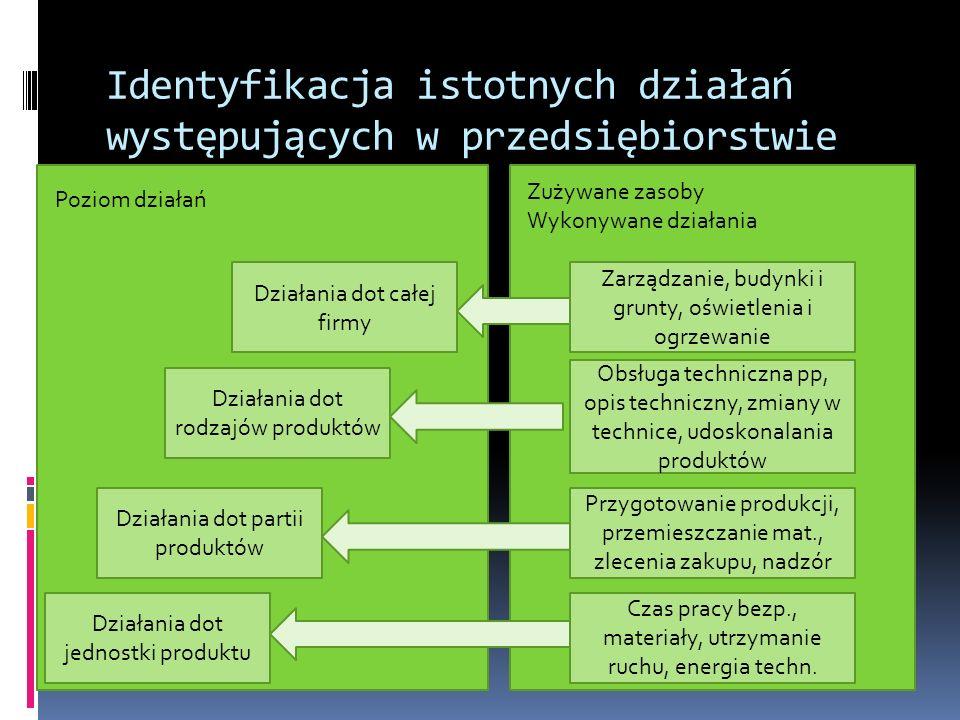 Identyfikacja istotnych działań występujących w przedsiębiorstwie