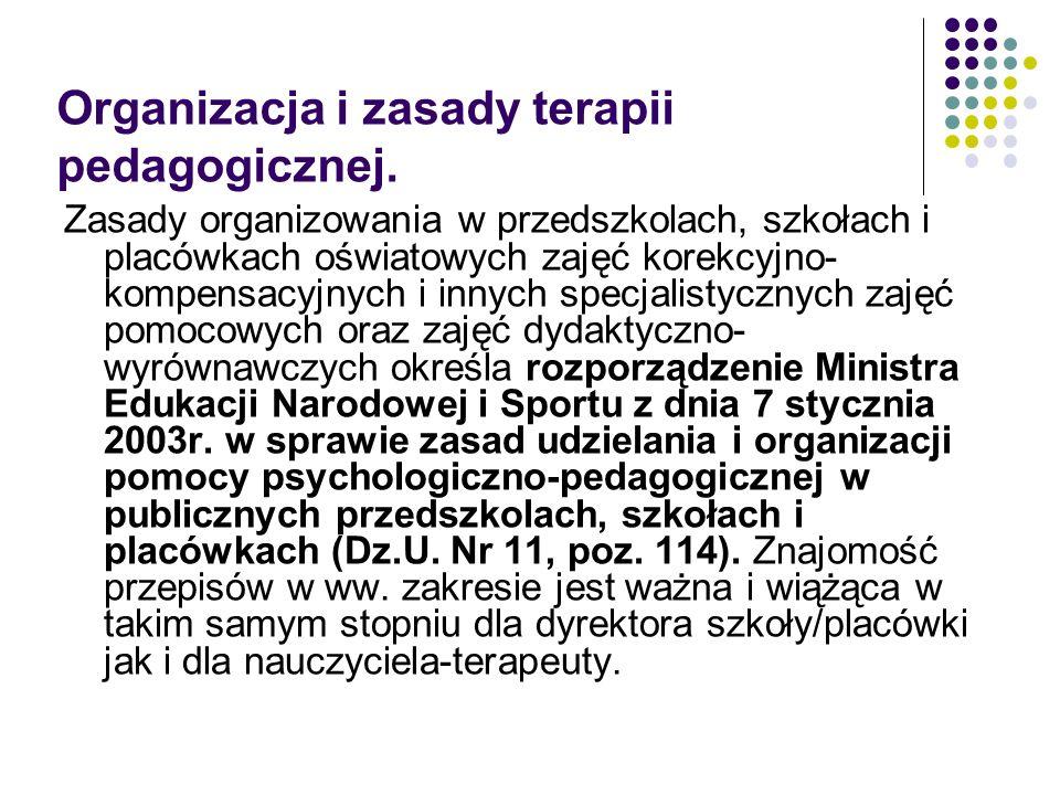 Organizacja i zasady terapii pedagogicznej.