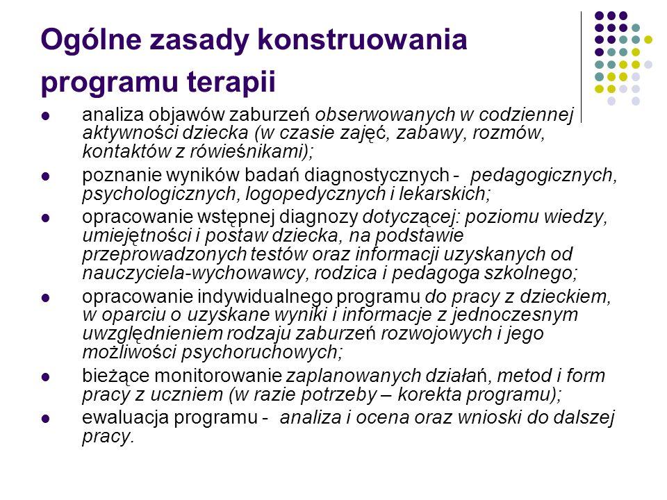 Ogólne zasady konstruowania programu terapii