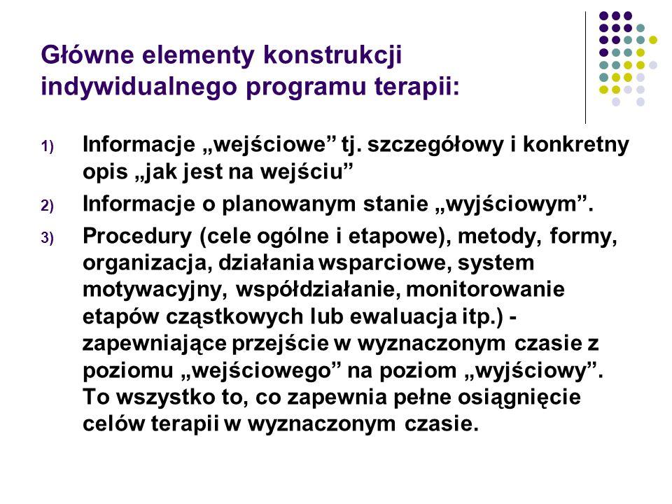 Główne elementy konstrukcji indywidualnego programu terapii: